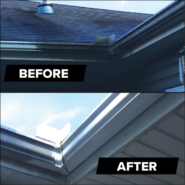 Gutters cleaned with MiracleMist All Purpose Cleaner