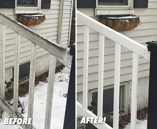 Wooden Rail Before and After Miracle Mist