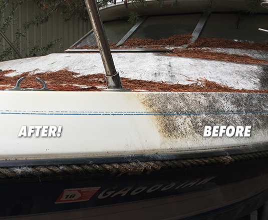 Boat cleaning with Miracle Mist