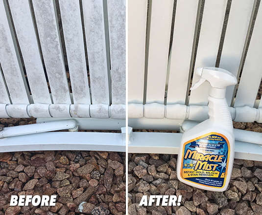 Before and After with Miracle Mist Mold & Mildew Stain Remover
