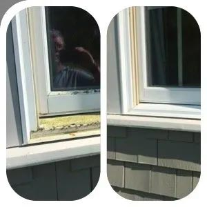 window seal before and after mildew removal with MiracleMist